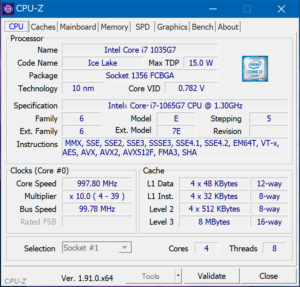 Core i7を搭載したSurface Pro 7上のCPU-Z